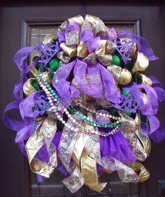 Mardi Gras Wreath Fat Tuesday Masquerade Door by LuxeWreaths, $164.00