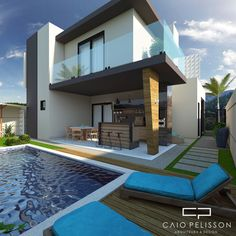Interior Architecture Drawing, Modern House Facades, Modern Villa Design, Jacuzzi Outdoor, Small Backyard Pools, Facade House, Future House, Building A House, House Plans