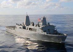 USS San Antonio (LPD 17) lead ship of her class of amphibious transport/landing ship dock.