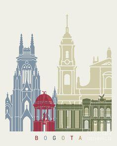 Bogota skyline poster - Fine Art Print Glicee Poster Decor Home Gift Illustration Wall Art Artistic Colorful Landmarks - SKU 2555 Travel Gallery Wall, Travel Wall Art, Wall Prints, Fine Art Prints, Wal Art, City Vector, Skyline Art, City Illustration, Vintage Travel Posters