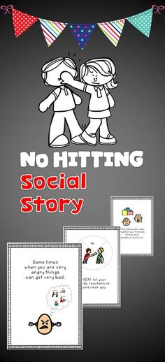 """Social Story """"No hitting"""" has been tried and tested with my students. Social stories help a person with autism understand how to behave or respond in a particular situation using a visual guide describing various social interactions, situations, behaviours, skills or concepts. The goal of this Social Story is to share accurate social information and how to behave in them instances."""