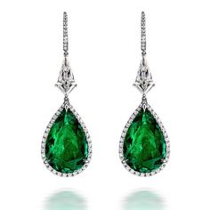 Extraordinary Colombian Emerald and Diamond Earrings #LEVIEV