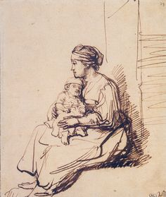 Rembrandt - Woman With a Little Child on Her Lap c.1635 // Louvre