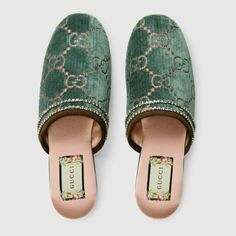a570f71b9c8 Shop the GG velvet slipper by Gucci. Gaining notoriety in the 1960s
