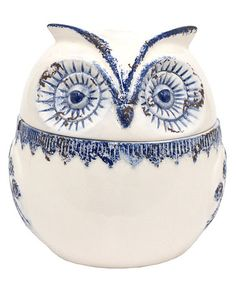 Take a look at this Blue & White Distressed Owl Covered Jar by Three Hands Corporation on #zulily today!