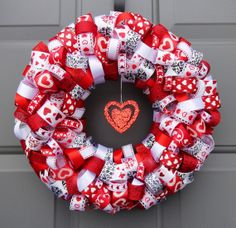 Valentine's Day Red Ribbon Wreath