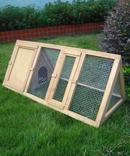 OUTDOOR WOODEN RABBIT HUTCH TRIANGLE PET CAGE RUN GUINEA PIG FERRET COOP GARDEN