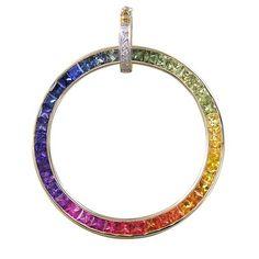 1b2f96d631 Rainbow Sapphire & Diamond X-Large Circle Pendant 14K Yellow Gold (5.5ct tw