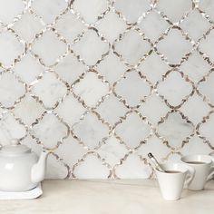 Mosaic Tiles, Wall Tiles, Arabesque Tile Backsplash, Tiling, Kitchen Backsplash, Light Granite Countertops, Mother Of Pearl Backsplash, Küchen Design, Bathroom Styling