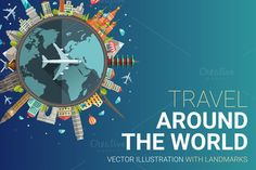 Travel Around the World Card by @Graphicsauthor