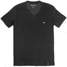 True Religion V-Neck Tee Mens MC337RH4-BK Jet Black S/S T-Shirt Top Size M