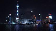 Jin Mao Tower, Adrian Smith, Oriental Pearl TV Tower, Huangpu (River), Pudong, Architectural Icon, Skyline (City Silhouette), Landmark (Sights), Night, Megacity, Travel Destination, Metropolis (City), Stock Footage,
