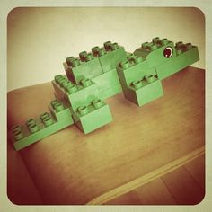 Finn's Buaya. I made this for him. Then he made his own version with big jaws and keeps making it bite a rabbit. A bit disturbing. #Lego #Duplo #alligator