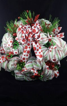Christmas wreath,  deco mesh,  green white and red