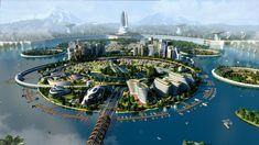 Futuristic City, Futuristic Technology, Futuristic Architecture, Fantasy Art Landscapes, Fantasy Landscape, Fantasy Places, Fantasy World, Sci Fi City, Future Buildings
