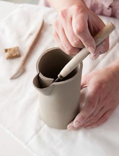 hand-built pitcher