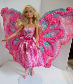 Barbie Fairy doll with wings pink skirt and high heels to match #Barbie