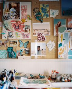 """Textile designer Lulu de Kwiatkowski's studio mood board. """"I am inspired to create first and foremost by Mother Nature, family, love, travel, and colors,"""" she says."""