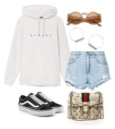 """Untitled #5047"" by dudas2pinheiro ❤ liked on Polyvore featuring Nobody Denim, Vans and Gucci"