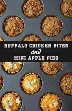 You want to make a sweet snack…but you also want something savory and satisfying. You can whip up two delicious game time snacks in 1/2 the time. Serve savory and sweet game day snacks made using the MVP Mega Mini Muffin Pan and make 24 Buffalo Chicken Bites & 24 Mini Apple Pies at the SAME TIME!