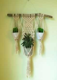 Macrame Wall Plant Hanger by beeWEAVEitorKNOT on Etsy