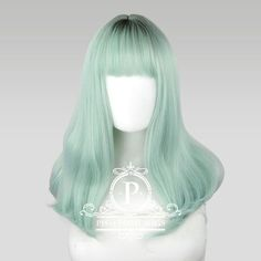 """Tu Mint Short Green Wig Make your style pop with this bouncy short green wig. This wig starts at a darker teal at the roots, then fades to an almost icy pastel mint green at the tips. This lovely 17"""" wig has soft curves from the midpoint to the tips that accentuate the face, combined with straight-cut bangs. Put a little bounce in your step (and your hair), and wow the crowd as you pass by in this comfortable accessory. If you've always wanted to dye your hair a soft, but vibrant color, and… Mint Hair Color, Mint Green Hair, Green Wig, Hair Dye Colors, Ombre Hair Color, Cool Hair Color, Edgy Hair, Hair A, Lolita Hair"""