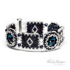 Black and Silver Bracelet - Square and Round Components ...Peyote & Rivoli
