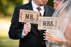 Cheap Wedding Decoration - Discount Wedding Engagement Party Photo Booth Prop Mr And Mrs Retro Single Sided Paddle Signs Fan Banner Wedding Decoration Favor Online with $19.9| DHgate