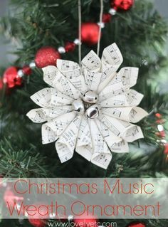This little Christmas music wreath ornament is so much easier to make than it looks. And the jingle bells add that perfect festive touch. Paper Christmas Ornaments, Christmas Music, Handmade Christmas, Christmas Holidays, Christmas Wreaths, Diy Ornaments, Glitter Ornaments, Beaded Ornaments, Felt Christmas