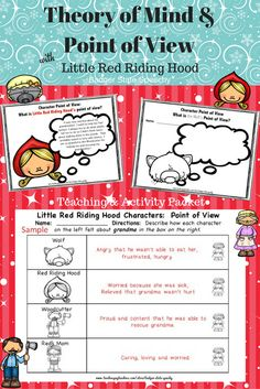 Engaging materials for teaching and practicing concepts related to theory of mind, point of view and perspective-taking with Little Red Riding Hood as the backdrop.  Includes story board, question cards, teaching story and activities!