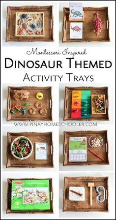 Montessori Inspired Dinosaur Activity Trays for Preschoolers - Montessori Inspired Dinosaur Activity Trays … Connect Monthly Theme to Each Subject: English = Le - Montessori Trays, Montessori Homeschool, Montessori Classroom, Montessori Toddler, Montessori Activities, Toddler Learning, Preschool Learning, Toddler Activities, Montessori Materials