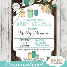 Beautiful Rustic Country Mason Jar Baby Shower Invitations to celebrate the upcoming arrival of your baby boy. This personalized mason jar shower invitation features a pretty floral birch branch with hanging mason jars in turquoise blue and peach against a rustic wood country backdrop. #babyprintables