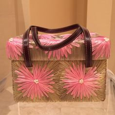 """Kate Spade Flower Raffia Straw Bag Vintage Kate Spade Raffia Pink Flowered Straw Bag. Leather Straps. Worn Once. Mint Condition. Part of Kate Spade 2000 Summer Collection. Loved This Bag So Much I Kept It As A Collector's Piece.  Measures = 8"""" L x 4"""" D x 5""""H kate spade Bags"""