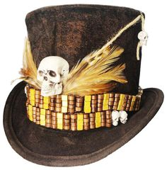 74 best voodoo witch doctors images on pinterest voodoo halloween witch doctor voodoo tall brown top hat skull by jenkittyscloset publicscrutiny Choice Image