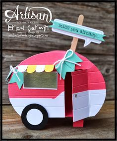 Pink Buckaroo Designs: Mini Camper- Whole Lotta Love Project Planner Valentines 2014 Pop Up Cards, Cute Cards, Diy Cards, Camping Cards, Valentine Day Boxes, Valentine Wreath, Valentine Ideas, Valentine Crafts, Shaped Cards