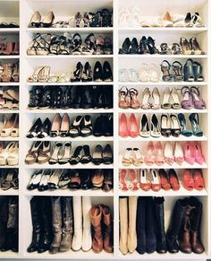 Cheap bookcases in the closet for a shoe rack. I will need this!