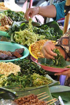 Street food/Yogyakarta, Indonesia.  Nasi Pecel, empal ....  yum!