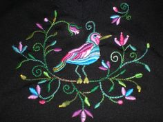 Handmade embroidered bird