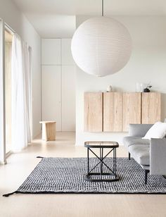 GRID — Woodnotes Living Room Kitchen, Living Room Interior, Home Living Room, Living Room Designs, Living Area, Living Spaces, Small Black Table, Black And White Interior, Cheap Carpet Runners