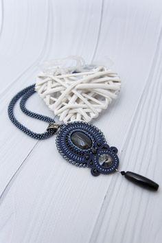 Blue Agate Necklace Pendant Dark Blue Long Dangle Necklace Stone Statement Soutache Jewelry Boho Chic Jewelry Boho Necklace Evening Jewelry fashion Handmade Jewelry