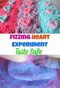 Enjoy this preschool science experiment with your kids! Watch the hearts fizz and combine in colors to create a beautiful display with taste safe cloud dough. #sensory #sensorydough #nontoxic # tastesafe #clouddough #fizzydough #toddler #preschool Science Activities For Toddlers, Science Experiments For Preschoolers, Preschool Science, Science For Kids, Preschool Crafts, Toddler Preschool, Indoor Activities, Sensory Activities, Sensory Play