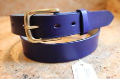 Hand dyed blue belt Leather Belts, Handmade Leather, Blue, Accessories