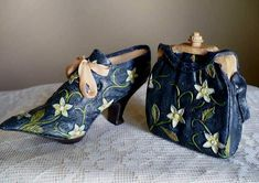 Collectible Mini Shoe Set with Purse Navy with Flowers Bow Design Resin Bow Design, Resin, Bows, Shoe, Purses, Navy, Best Deals, Mini, Flowers