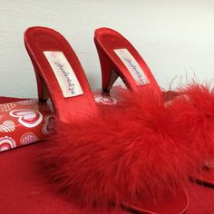 Valentine Gift for her Red Satin Feather Mules Slippers Heels Frederick's of Hollywood Size 8 Bedroom Glamour Shoes Maribou Feather