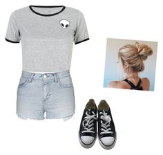 """""""Summer day"""" by maleighelizabeth ❤ liked on Polyvore featuring WithChic, Topshop and Converse"""