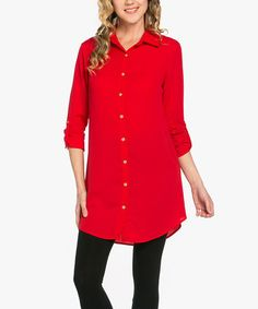 Another great find on #zulily! Tomato Red Button-Up Tunic #zulilyfinds