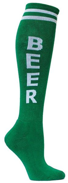 """Beer"" green knee high socks. Mmm, beeeeeer...  Knee high socks with BEER and a cushioned footbed.  Unisex design: fits a women's U.S. shoe size 7 - men's 13.5. Available in various colors."