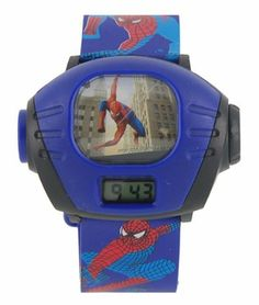 New Cute Cartoon Spiderman Projector Wrist Watch for kids boys Blue by FPS-Gargets. $9.99. FEATURES  Special design projector watch for kids. Digital LCD display. Precise movement. With cute Spiderman image. Projector function, press the button and an image of Spiderman is on the wall. Great gift for kids.  Package Details weight:53.50g size :27*8*2cm  Package Includes 1 × Cartoon Projector Watch