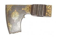 An Ottoman 'balta' (battleaxe head). Muslim Culture, Battle Axe, Mughal Empire, Go Outdoors, Arm Armor, Fantasy Weapons, Ottoman Empire, 18th Century, Persian