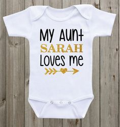 My Aunt Loves Me Baby Onesie Aunt Onesie Baby Girl Girl Outfit Black Gold Pink Glitter Shirt Baby Girl Clothes Baby Shower Gift